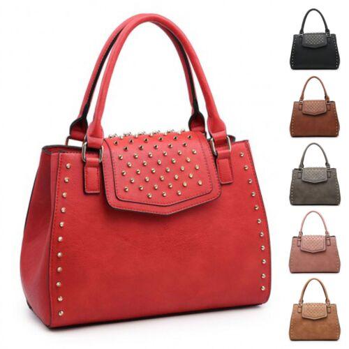 Ladies Studded Faux Leather Handbag Multi Compartment Fashion Shoulder Bag M8123