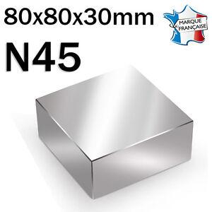 Royal Super Aimant Magnet Neodym N45 - 80x80x30mm - 400kg