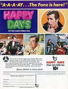Happy-Days-Trading-Card-Dealer-Sell-Sheet-Sale-Ad-Topps-1976-Bubble-Gum