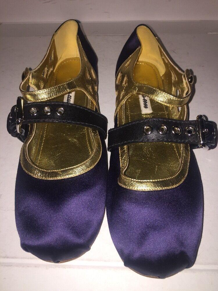 Authentic Women's Miu Miu Double-Strap Satin Ballet Flats Size 37.5 $690
