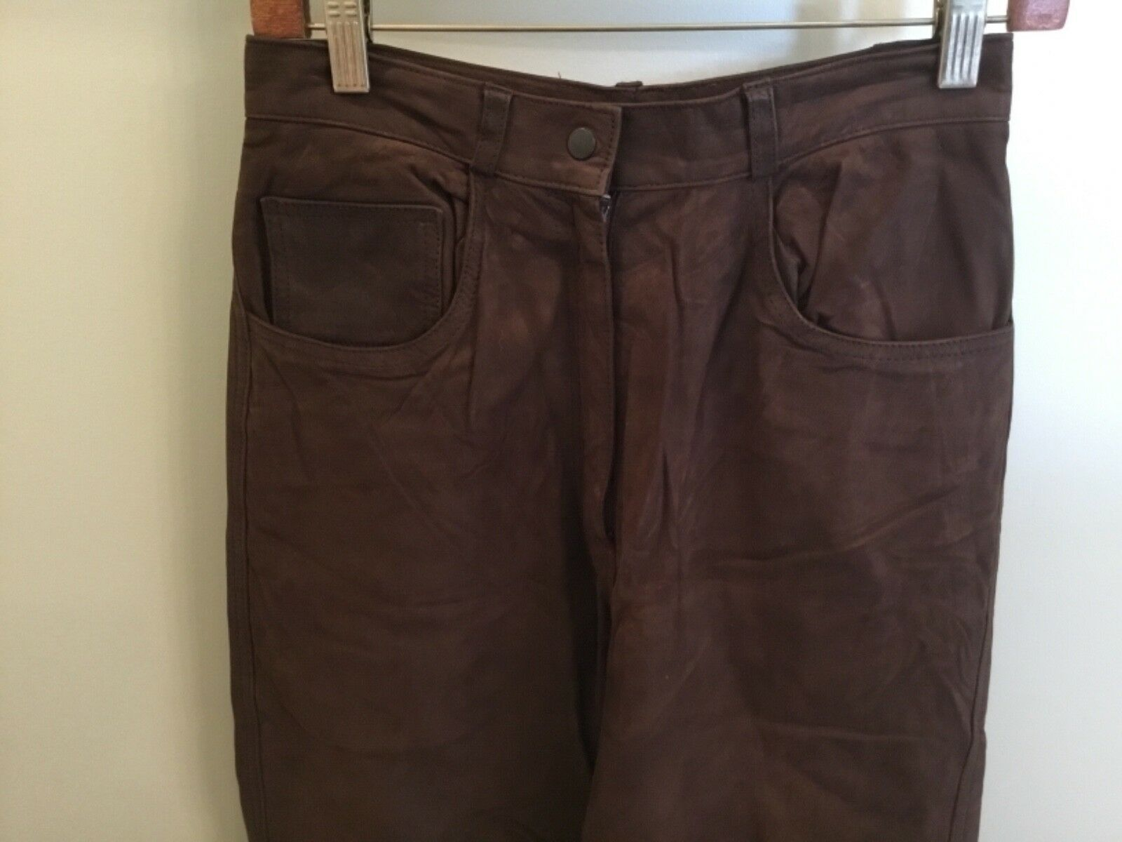 Manuel Herrero Peletero Madrid Long Pants Women's Brown Suede Lined 6 4