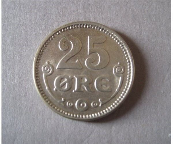 Danmark, mønter, 25 øre 1917