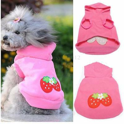 Pet Dog Cute Strawberry Hoodie Clothes Warm Coat Jacket Puppy Apparel Outfit