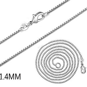 """Unisex 925 Silver Plated 1.4MM Box Chain Necklace Jewelry 16/"""" 18/"""" 20/"""" 22/"""" 24/"""""""