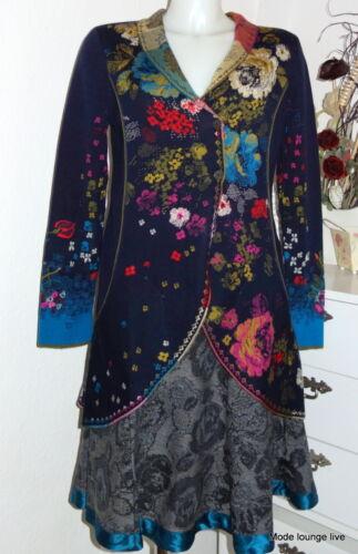 IVKO Long Jacke Brocat Pattern Merino-Wolle Mantel Coat Blumen marine 52701