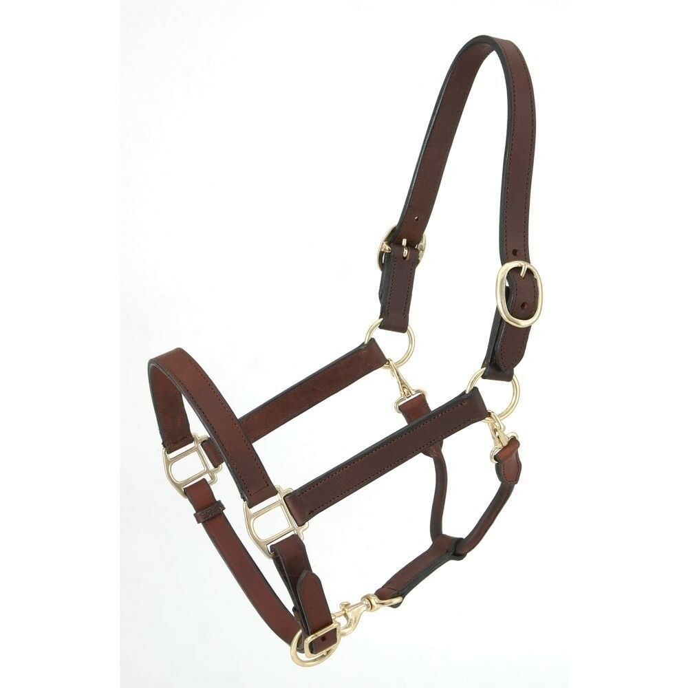 Tough-1 Royal King Leather Stable Grooming Halter Horse Size Brown