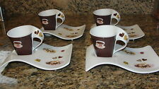 Set of 4 Villeroy & Boch New Wave Caffe Cookies Expresso Cups & Plates
