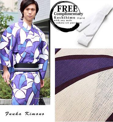 Yukata and OBI Belt Set of 2 LL Purple Luxury Japanese Mens Summer Kimono