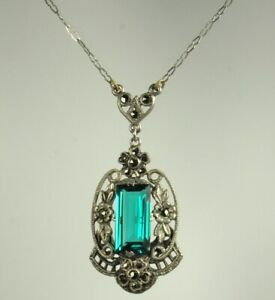 ART-DECO-LAVALIER-Necklace-Sterling-GERMANY-1930s-CRYSTAL-amp-MARCASITES-16-034-Fab