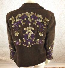 Coldwater Creek Sz P10 Lined Embellished Floral Embroidered Brown Jacket Blazer