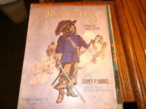 #3182, Porthos, Starmer Cover, 1914 Rarement Vu, Vintage Sheet Music-starmer Cover,1914 Seldom Seen,vintage Sheet Music Fr-fr Afficher Le Titre D'origine