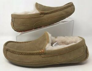 68bd56caa37 UGG Men s Ascot Slippers Wool Moccasin Shoes Chestnut Marble SZ 8 ...
