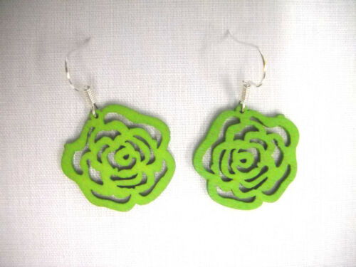 NEW SMALL SIZE GRASS GREEN CUT OUT OPEN ROSE FLOWER WOODEN CHARM DROP EARRINGS