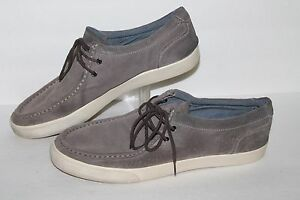 aldo 2 eye boat shoe / casual shoes grey leather men's