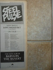 """STEEL PULSE - LOVE WALKS OUT 1986 UK TOUR,  B&W N.M.E. ADVERT PICTURE 15"""" X 5.5"""""""