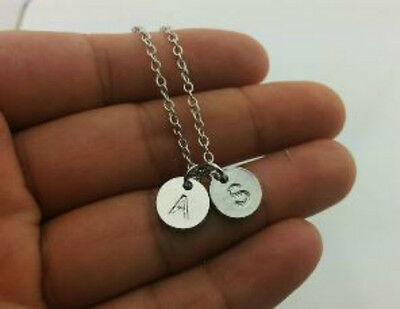 Initial Monogram Personalized Necklace Letter Stamped Charm Pendant Necklace C1