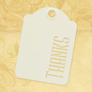Graphic45 Staples-THANKS (10) IVORY STENCIL-CUT ATC TAGS