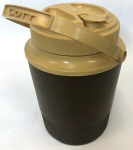 Vintage-GOTT-Brown-Tan-1970-Hot-Cold-Screw-Top-Thermos-Drink-Jug-Container