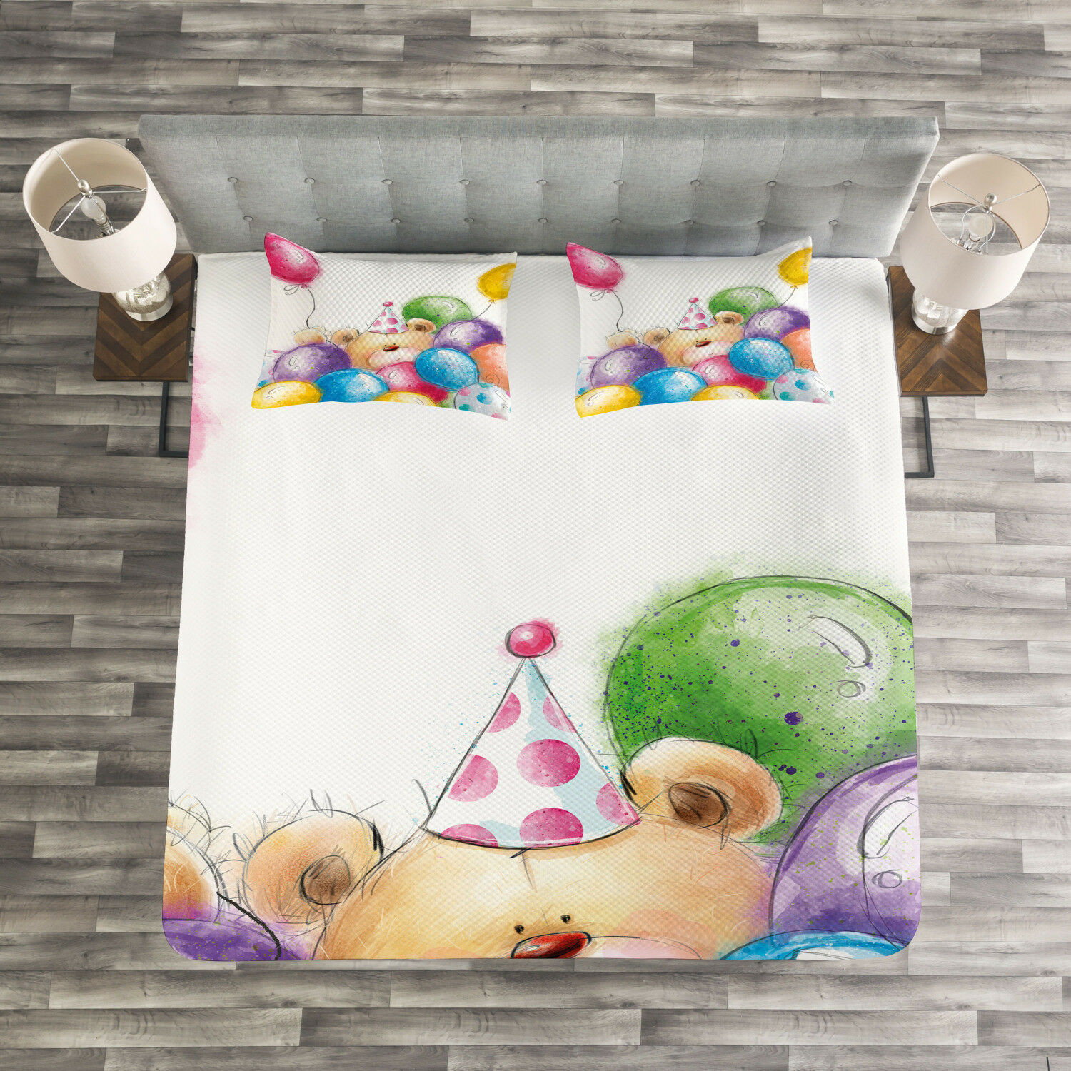 colorful Quilted Bedspread & Pillow Shams Set, Sketchy Bear Balloons Print