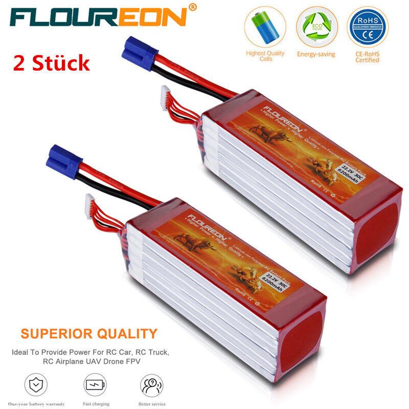 2x Floureon 6s1p 22.2v 6200mah 30c Lipo batería ec5 para RC auto helicóptero Drone