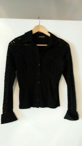 Women's Vintage Black Lace Fitted Button Down Top