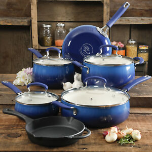The-Pioneer-Woman-Non-Stick-10-Piece-Cookware-Set-with-Skillet-Cobalt-Blue-NEW