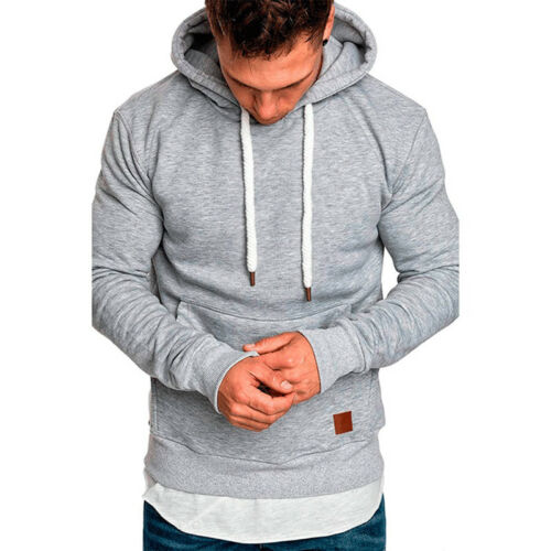 Plus Size Mens Solid Hoodies Sweatshirts Hooded Jackets Coat Pullover Jumper Top