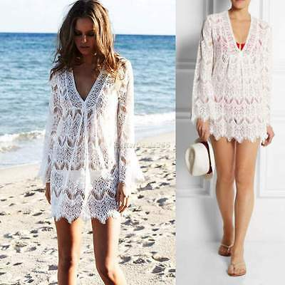 Sexy White Kaftan Women Beach Wear Swimwear Lace Bikini Cover Up Summer Dress