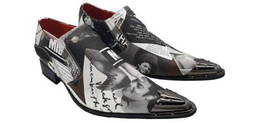 Men/'s Rossellini Slip on King of Pop Michael Jackson Pic Printed Metal Shoes