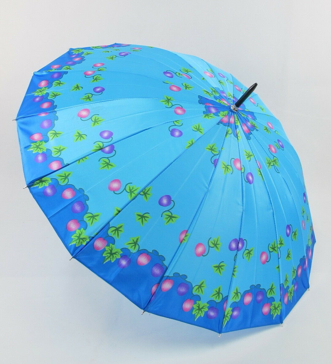 Blue Umbrella with Gold Curved Handle