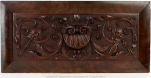 Antique-Georgian-Irish-Carved-Mahogany-Centre-Salvaged-Panel-Shell-Acanthus-Leaf