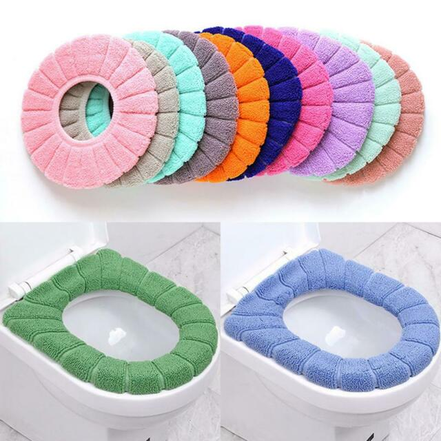 Bathroom Toilet Seat Cover Cushion Closestool Soft Warmer Mat Cover Pad Washable