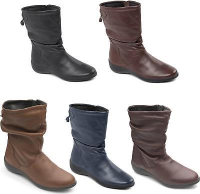 Padders REGAN Ladies Womens Leather Wide Fit Zip Comfort Winter Calf Boots Brown