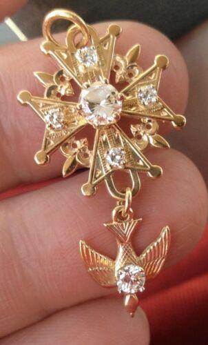 14 K Y/G Diamond Huguenot Pendant
