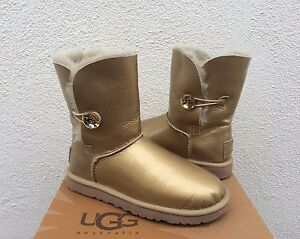 081a8cbf650 Details about UGG BAILEY BUTTON MIRAGE SOFT GOLD BLING SHEEPSKIN BOOTS, US  7/ EUR 38 ~ NIB