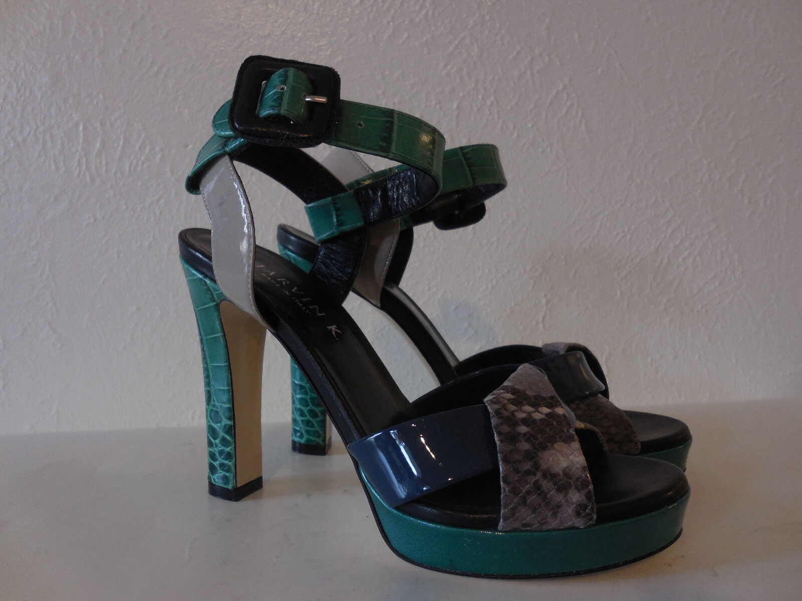 New New New Sz.6 Marvin K Fad Jade Combo Leather Strappy Heels Platform Sandals (ITALY) 9cc2d2