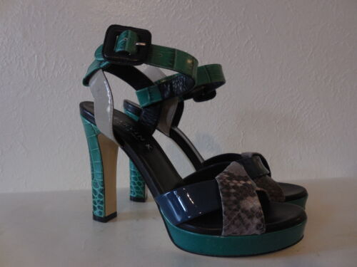 New Sz.6 Marvin K Fad Jade Combo Leather Strappy Heels Platform Sandals (italy)