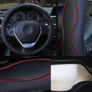 Universal-38cm-Car-Steering-Wheel-Cover-Anti-skip-PU-Leather-Black-Red-Styling