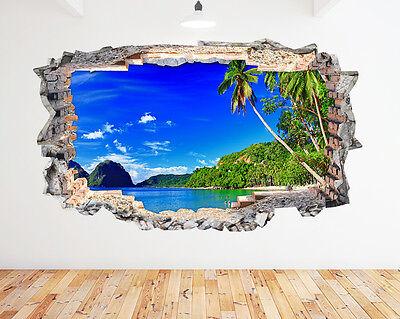 Wall Stickers Paradise Beach  Sea Ocean Palm Trees Decal Poster 3D Art Viny A045