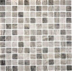 Vetro mosaico struttura in legno Grigio Beige Specchio Piastrelle ...