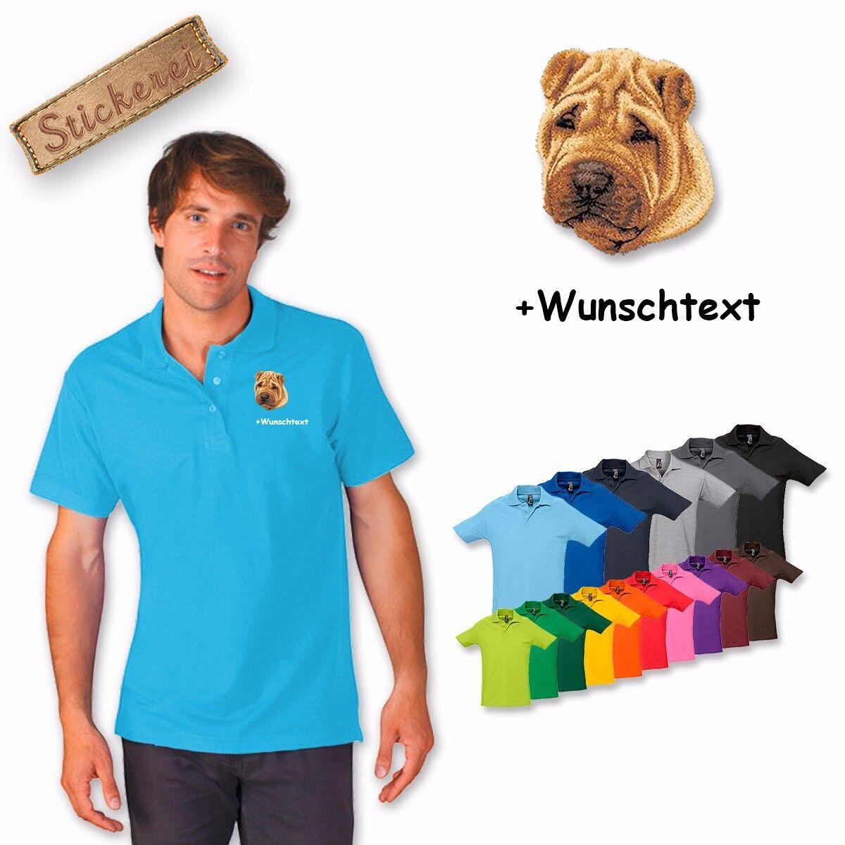 Camicia Polo Camicia Ricamata Cotone Ricamo Cane Shar Pei + Testo Personalizzato