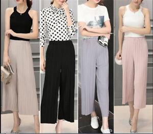 Womens-Trendy-Long-Loose-Pants-Pleated-Chiffon-Wide-leg-Casual-Trousers-HT
