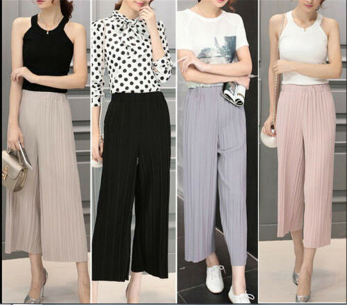 Womens Trendy Long Loose Pants Pleated Chiffon Wide-leg Casual Trousers ZP