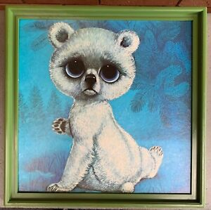 Vintage 60s Big Sad Eye Panda Bear Mid Century Modern Litho Print Wall Hanging