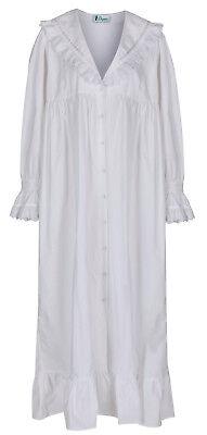"""100% Cotone Camicia Da Notte/vestaglia-amelia """"bianco"""" - Taglie Grandi-mostra Il Titolo Originale Valore Eccezionale"""