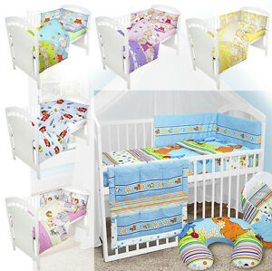 BABY-BEDDING-SET-fit-120x60-COT-PILLOW-DUVET-BUMPER-NURSERY-MATERNITY-2-3-5-6-pc