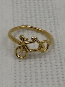 GOLD-METAL-FASHION-JEWELRY-RING-BICYCLE-BIKE-MOTORCYCLE-SHAPED-RING-SIZE-5-5
