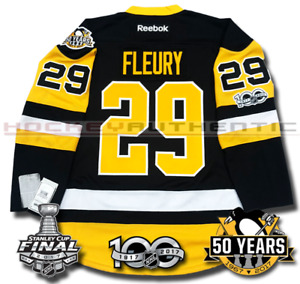 MARC-ANDRE FLEURY PITTSBURGH PENGUINS 2017 STANLEY CUP JERSEY REEBOK 100TH 50TH