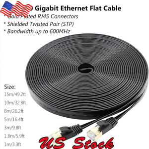 CAT-7-10-Gigabit-Ethernet-Ultra-Flat-Patch-Cable-up-to-50ft-for-Modem-Router-LAN