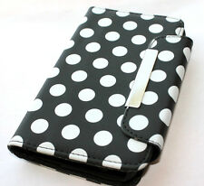 Samsung Galaxy S2 D710 (Sprint/Verizon) -Black Polka Dots Wallet Flip Pouch Case